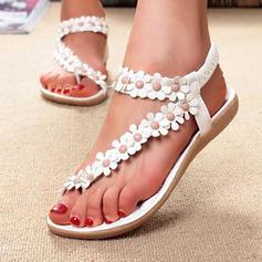 Bayanlar PU Düz topuk Sandalet Flats Peep Toe Ile Çiçek ayakkabı
