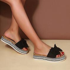 Сандалии Квартиры Платформа Peep Toe Домашние тапочки с Bowknot Выдолбить обувь