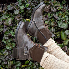 Женский дерматин Низкий каблук Ботильоны Круглый носок с Зашнуровать обувь