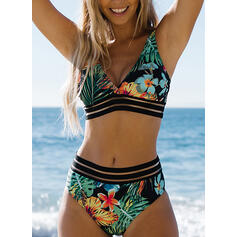 Цветочный Тропический принт Ремень V шеи марочный Boho Bikinis купальников