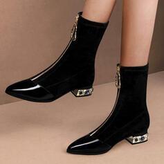 De mujer PU Tacón ancho Botas longitud media Dedo del pie puntiagudo con Cremallera Tacones con joya Color sólido zapatos