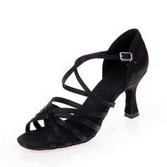 Kvinder Latin Hæle sandaler Satin med Ankel Strop Latin