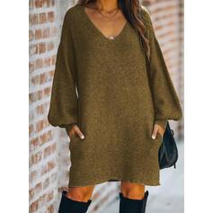 Solid Long Sleeves/Lantern Sleeve Shift Knee Length Little Black/Casual Sweater Dresses