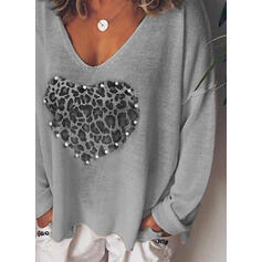 Print Leopard Heart V-Neck Long Sleeves Casual Knit T-shirts