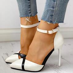 Mulheres PU Salto agulha Bombas com Fivela sapatos