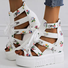 Сандалии Платформа клинья Peep Toe Каблуки с пряжка Цветок Крест-накрест обувь