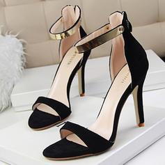 Kvinnor Mocka Stilettklack Sandaler Pumps Peep Toe med Paljetter Zipper skor