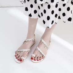 Pentru Femei Imitaţie de Piele Fară Toc Sandale Balerini Puţin decupat în faţă Borsete cu Imitaţie de Perlă Lanţ pantofi