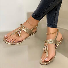 Women's Suede Flat Heel Sandals Flats Peep Toe With Tassel shoes
