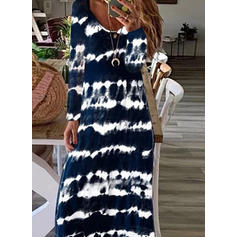 Tie Dye Long Sleeves A-line Casual/Vacation Maxi Dresses