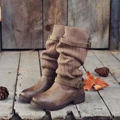 Mulheres Couro Salto baixo Fechados Botas Botas na panturrilha Martin botas com Fivela Divisão separada sapatos