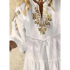 Print 3/4 Sleeves/Flare Sleeves Shift Above Knee Casual/Elegant Dresses