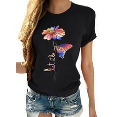 Nadruk Kwiatowy Zwierzęcy Okrągły dekolt Krótkie rękawy Casual T-shirty