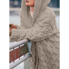 Solid Cable-knit Chunky knit Hooded Casual Long Cardigan