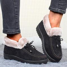 Pentru Femei Material călcâi plat Botine Deget rotund Cizme de iarna Cizme de Iarnă cu Nod Culoare solida pantofi