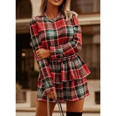 Plaid Long Sleeves Sheath Above Knee Casual Dresses