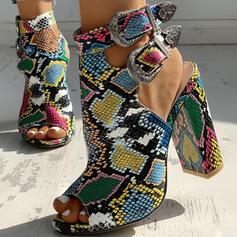 Pentru Femei PU Toc gros Sandale Încălţăminte cu Toc Înalt Puţin decupat în faţă Tocuri cu Cataramă Imprimeu Animal pantofi