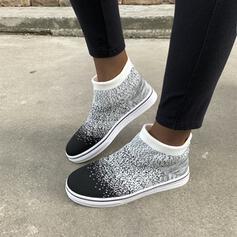 Vrouwen Mesh Flat Heel Enkel Laarzen Ronde neus met Effen kleur Geborduurd schoenen
