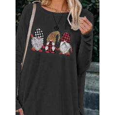 Print Leopard Round Neck Long Sleeves Casual Christmas Blouses
