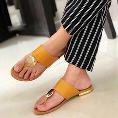 Frauen PU Flascher Absatz Sandalen Peep Toe mit Niete Hohl-out Schuhe