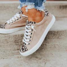 Mulheres Couro Sem salto Sem salto Toe rodada Espadrille com Aplicação de renda Cor da emenda sapatos