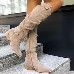 Mulheres Camurça Salto robusto Botas de inverno com Zíper Button Cor sólida sapatos
