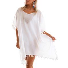 Jednobarevné ciucuri Kulatý výstřih Elegantní Přehozy Costume de baie