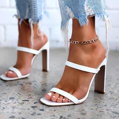 Сандалии Насосы Peep Toe Квадратный носок с Выдолбить Сплошной цвет обувь