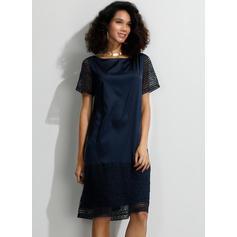 Encaje/Sólido Manga Corta Tendencia Hasta la Rodilla Casual/Elegante Camiseta Vestidos