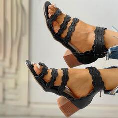 Dla kobiet PU Obcas Slupek Sandały Czólenka Otwarty Nosek Buta Obcasy Z Zamek błyskawiczny obuwie