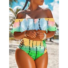 Nadruk Gradient Bez ramiączek Dekolt typu Carmen Cygański Duży rozmiar Bikini Stroje kąpielowe