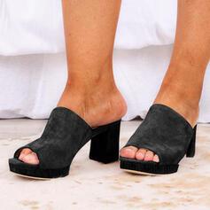 Kvinner PU Stor Hæl Platform Titte Tå Tøfler Hæle med Ensfarget sko
