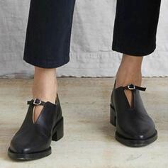 Femmes PU Talon plat Chaussures plates avec Élastique Couleur unie chaussures