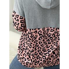 Leopard Pockets Long Sleeves Hoodie