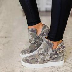 婦人向け キャンバス フラットヒール フラッツ ブーツ アンクルブーツ とともに バックル 靴