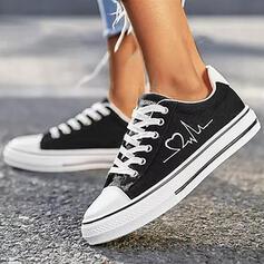 Bayanlar bez Düz topuk Flats Düşük Üst Yuvarlak ayak espadrille Ile Bağcıklı ayakkabı baskı ayakkabı