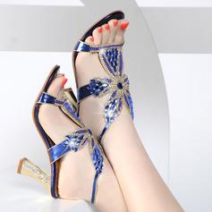 Mulheres Espumante Glitter Salto baixo Chinelos Peep toe Sapatos abertos com Cristal