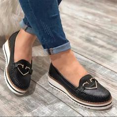 Frauen PU Flascher Absatz Flache Schuhe Low Top mit Schnalle Schuhe