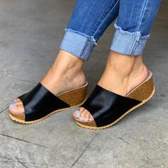 Mulheres PU Sem salto Calços Peep toe Chinelos sapatos