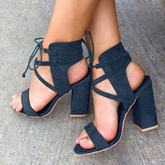 Толстый каблук Сандалии Насосы Peep Toe Каблуки с Зашнуровать Сплошной цвет обувь
