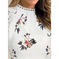 Распечатать Цветочный кружевной Шею 1/2 рукава Повседневная Блузы