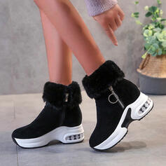 Women's Suede Wedge Heel Boots Ankle Boots With Zipper Lace shoes
