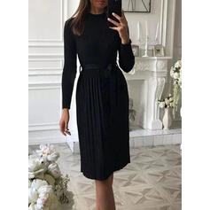 Solid Long Sleeves A-line Knee Length Little Black/Casual Sweater/Skater Dresses