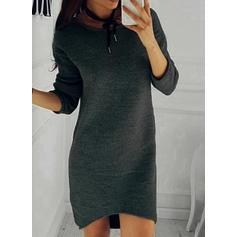 Solid Round Neck Casual Lång Tröja klänning