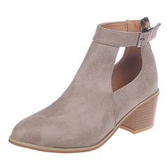 Kvinner Semsket Stor Hæl Sandaler Pumps med Spenne sko