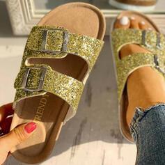Pentru Femei PVC Fară Toc Sandale Puţin decupat în faţă Şlapi cu Ştrasuri Cataramă pantofi
