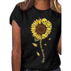 Nadruk słonecznika Okrągły dekolt Krótkie rękawy Casual T-shirty