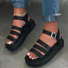 Mulheres Couro Sem salto Sandálias Sem salto Plataforma Peep toe com Fivela sapatos
