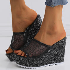 Mulheres Pano Malha Plataforma Sandálias Chinelos com Espumante Glitter Laço costurado Cor sólida sapatos