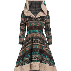 Print Long Sleeves A-line Knee Length Christmas/Casual Skater Dresses